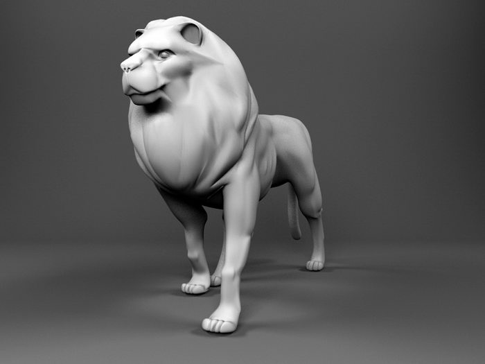 Large Lion Statue 3d rendering