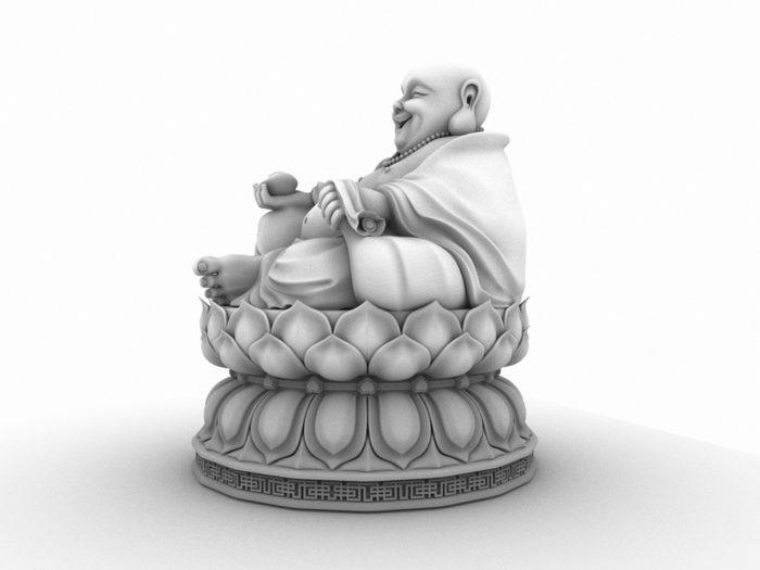 Fat Buddha Statue 3d rendering
