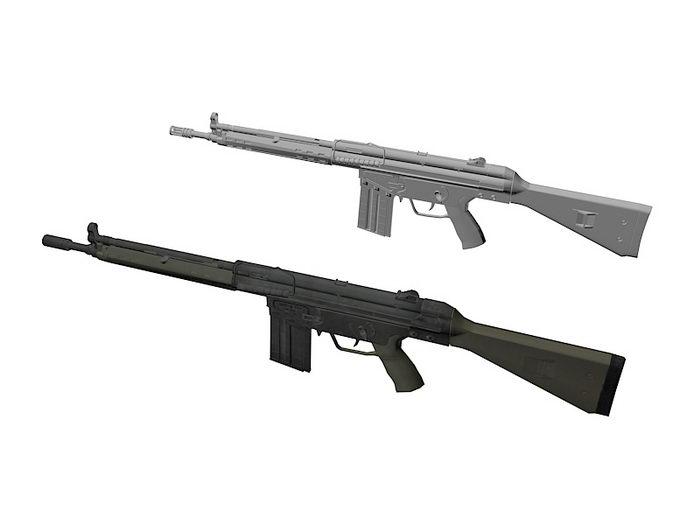 HK G3A3 Battle Rifle 3d rendering