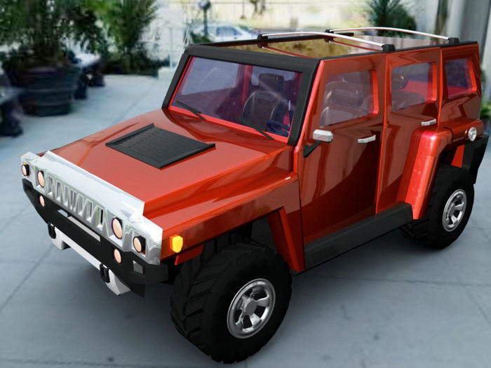 Hummer H1 Red 3d rendering