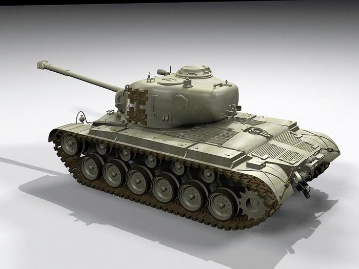 M26 Pershing Tank 3d rendering