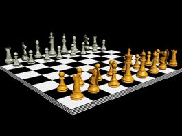 Wood Chess Set 3d model