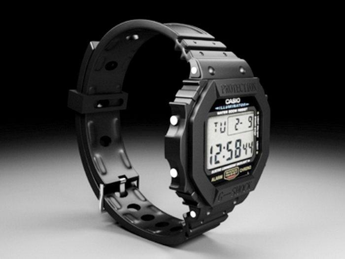 Casio Digital Watch 3d rendering