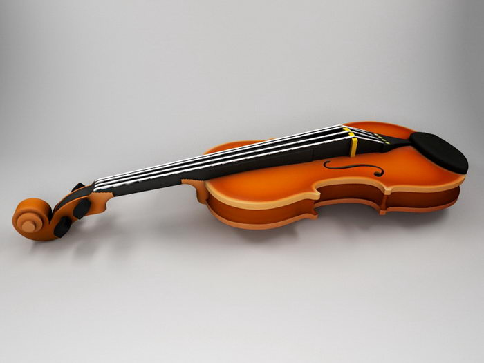 Beautiful Violin 3d rendering