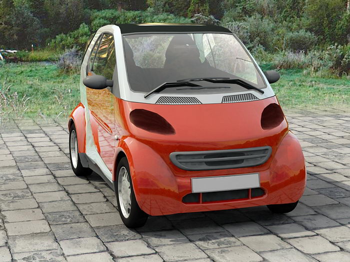 Red microcar 3d rendering