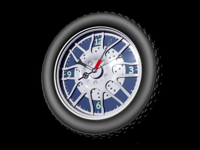 Wheel Wall Clock 3d rendering