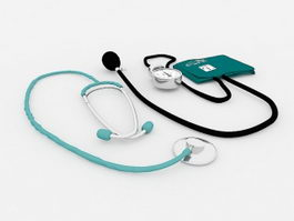Stethoscope and Sphygmomanometer 3d model