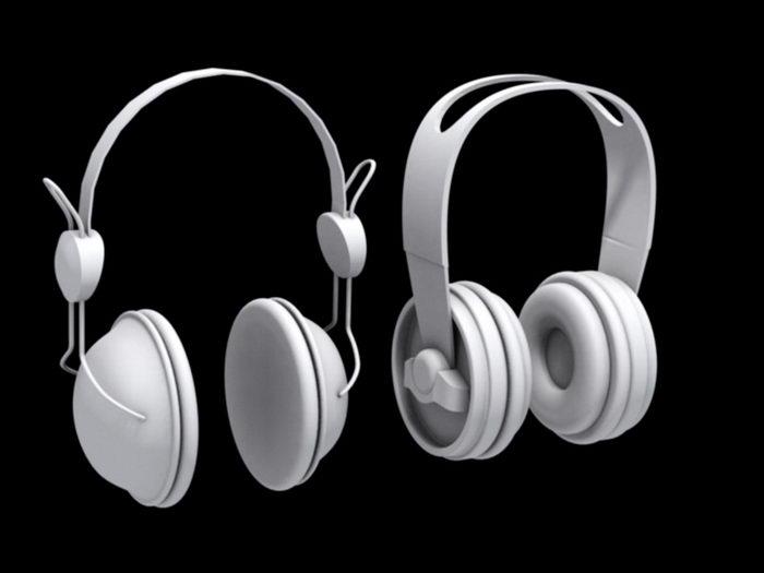 Two Headphones 3d rendering
