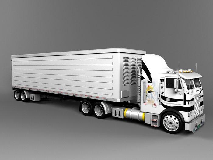 Freightliner Semi Truck 3d rendering