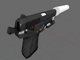 QSZ-92 Pistol with Silencer 3d model