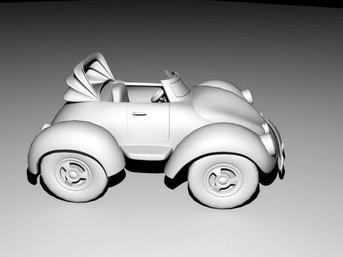 Cartoon Cconvertible Car 3d rendering