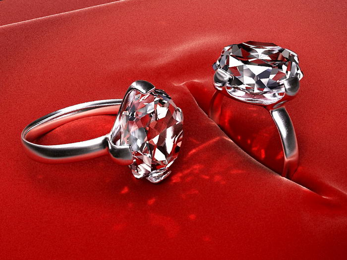 Diamond Rings 3d rendering
