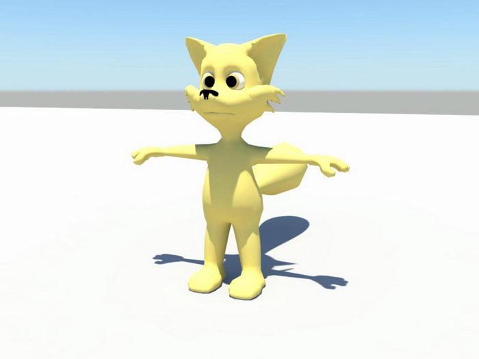Cartoon Fox Rig 3d rendering