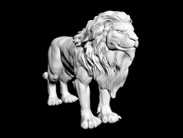 Male African Lion Statue 3d model