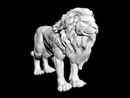 Male African Lion Statue 3d model