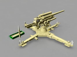 Pak 43 German 88 mm Anti-tank Gun 3d model