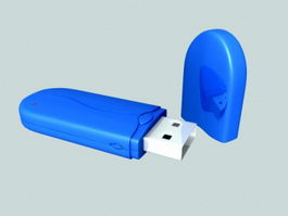 Blue USB Drive 3d model