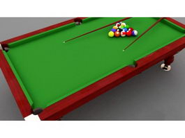 Pool Table with Equipment 3d preview
