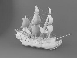 Black Pearl Pirate Ship 3d preview