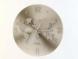 World Map Wall Clock 3d preview