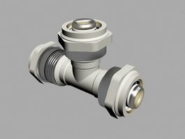 3-Way Pipe Connector 3d preview