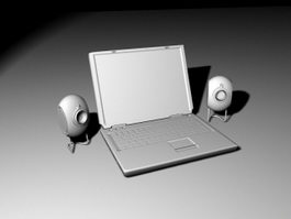 Laptop and Speakers 3d preview