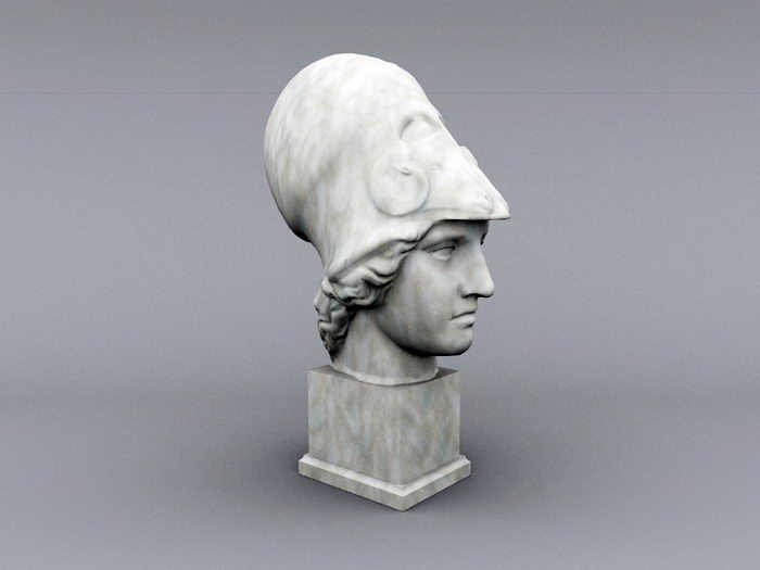 Head of Athena Sculpture 3d rendering