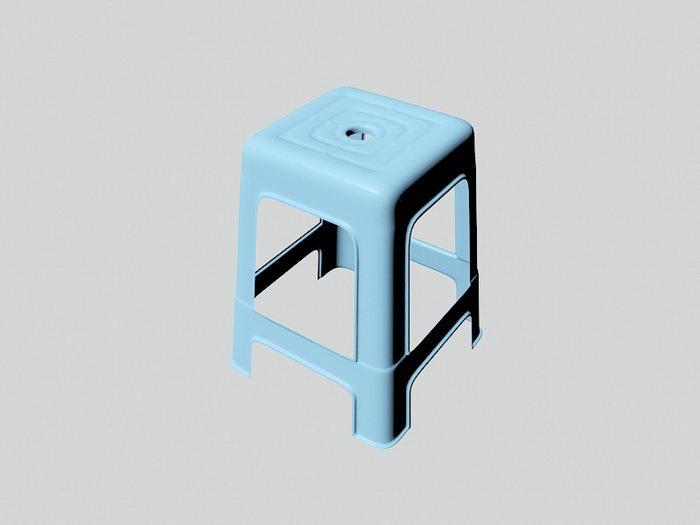 Blue Plastic Stool 3d rendering