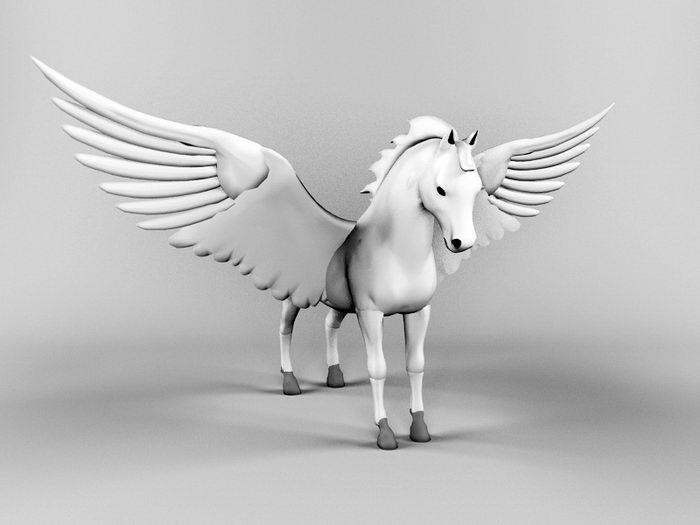 Pegasus Winged Horse 3d rendering