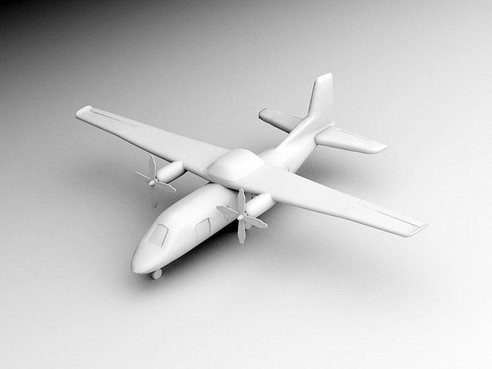 Old Propeller Plane 3d rendering