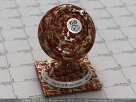 Red Floral Fabric vray material
