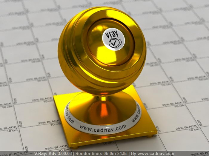 Shiny Gold material rendering