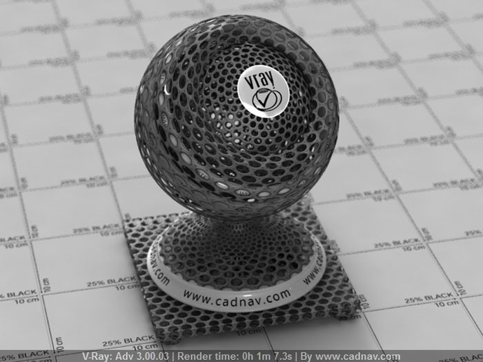 Metal Mesh with Round Holes material rendering