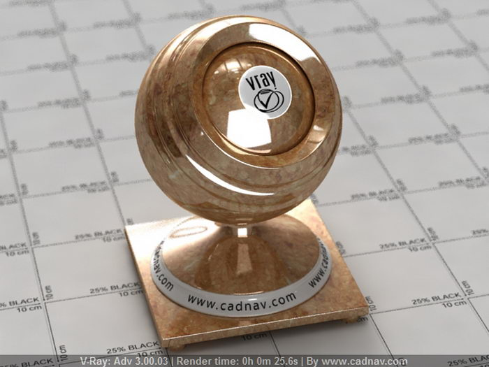 Polished Gold Marble material rendering
