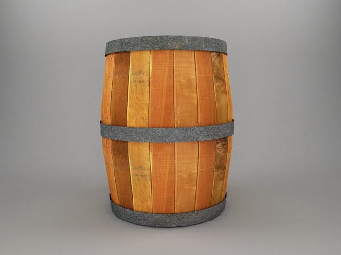 Old Wood Barrel 3d rendering