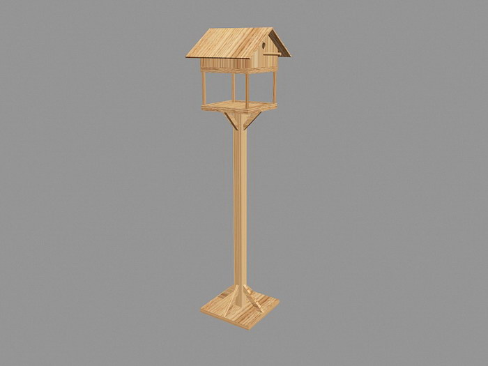 Wood Bird Table 3d rendering