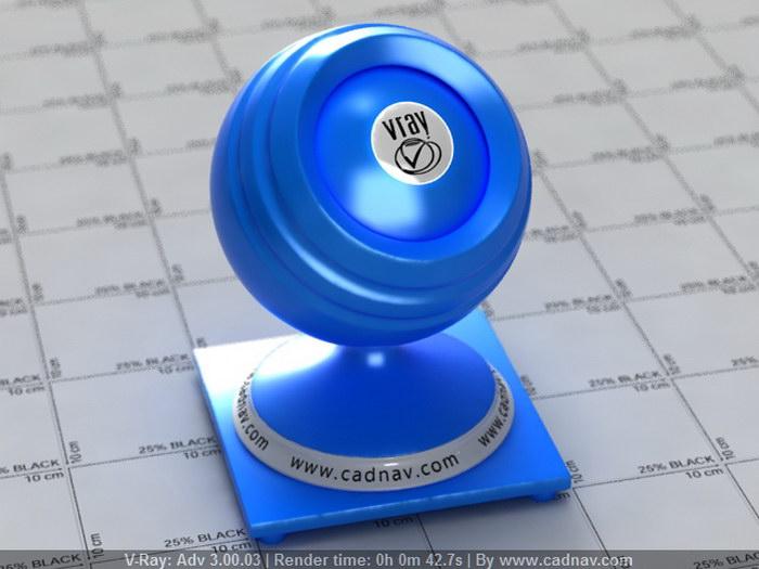 Blue Plastic Resin material rendering