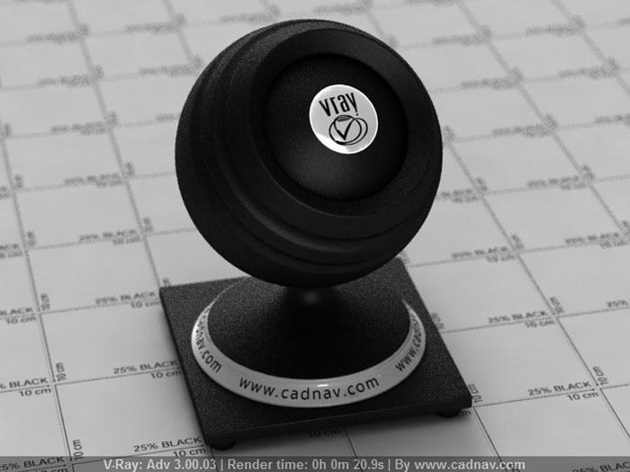 Black Rubber material rendering