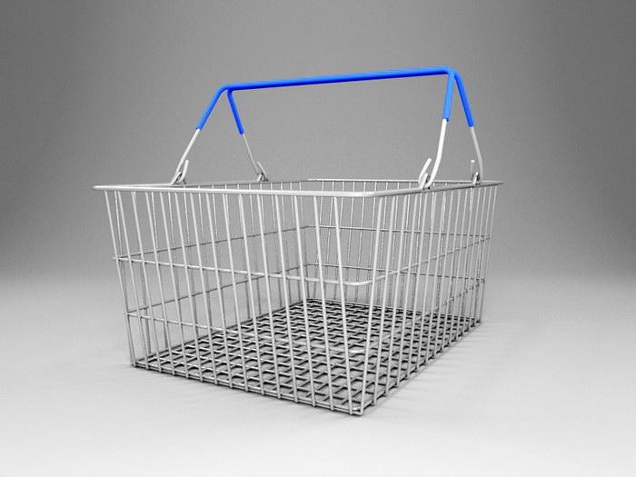 Supermarket Basket 3d rendering