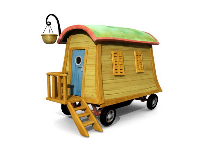 Anime Circus Wagon Camper 3d rendering