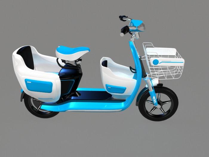 Light Blue Moped 3d rendering