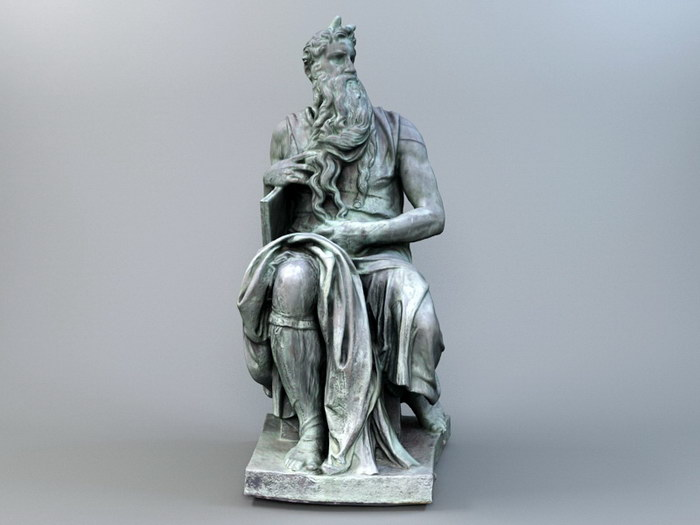 Moses Bronze Sculpture 3d rendering