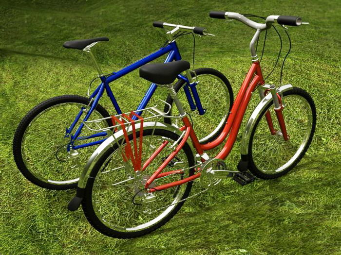 Mountain Bike and Bicycle 3d rendering