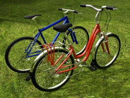 Mountain Bike and Bicycle 3d preview