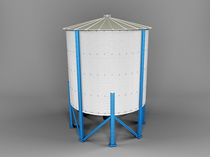 Grain Silo 3d rendering