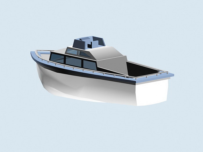 Small Motor Yacht 3d rendering