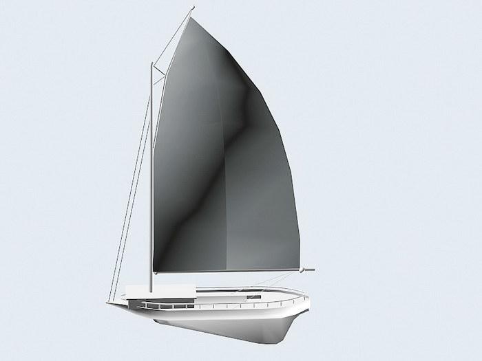 Single Sail Boat 3d rendering