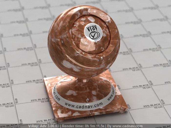 Red Brown Marble material rendering