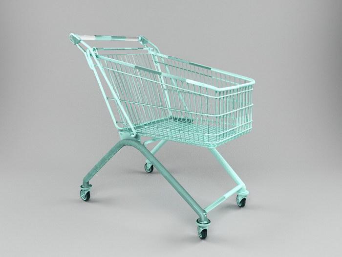 A Shopping Cart 3d rendering