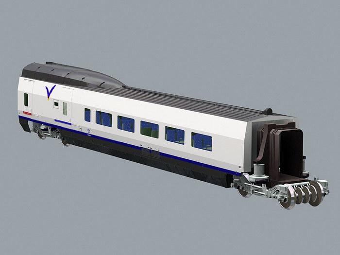 Passenger Rail Car 3d rendering